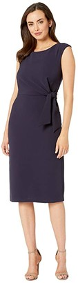 Tahari ASL Sleeveless Crepe Sheath w/ Side Tie (Navy) Women's Dress