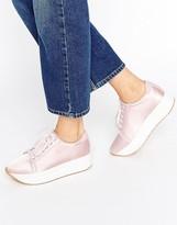 Vagabond Casey Pink Satin Flatform Sneakers