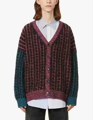 Loewe Colour-blocked oversized wool cardigan