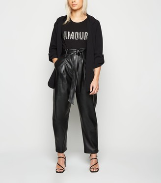 New Look Petite Coated Leather-Look Trousers