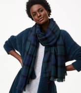 LOFT Windowpane Plaid Blanket Scarf