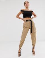 Asos Design DESIGN high waist combat pants with belt