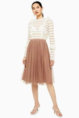 Lace & Beads Womens **Merlin Taupe Skirt By Taupe