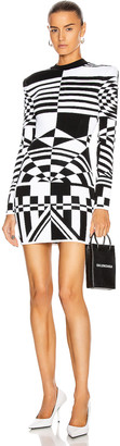 Balmain Long Sleeve Jacquard Dress in Black & White | FWRD