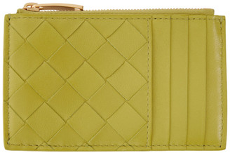 Bottega Veneta Green Intrecciato Zipper Card Holder