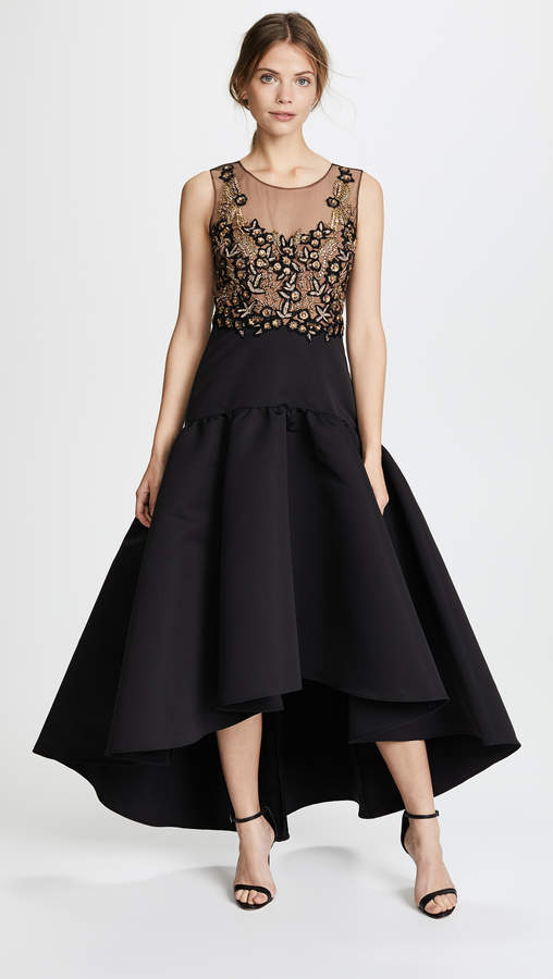 Marchesa Sleeveless High Low Dress with Embroidery