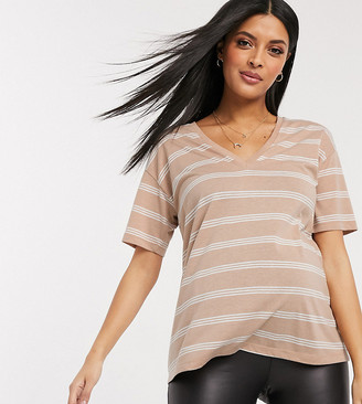 ASOS DESIGN Maternity t-shirt with v-neck in linen mix in sand with stripe
