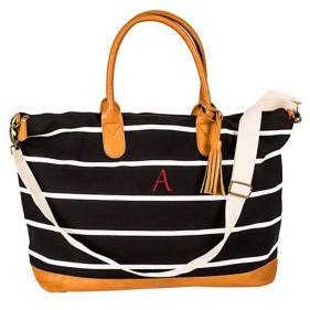 b65654925be Striped Canvas and Faux Leather Oversized Weekender Tote