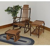 A&L FURNITURE CO. Hickory 9-Slat Rocking Chair w Gliding Ottoman and End Table