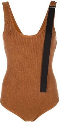 Jil Sander Contrast-Strap Knitted Bodysuit