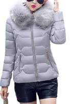 YMING Womens Down Cotton Winter Short Jacket S With Fur Collar