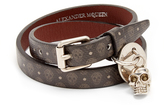 Alexander McQueen Skull-print wraparound leather bracelet