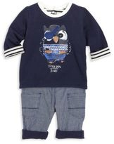 Catimini Baby's Two-Piece Owl Graphic Tee & Pants Set