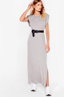 Nasty Gal Womens Shoulder Pad Romance Slit Maxi Dress - Grey