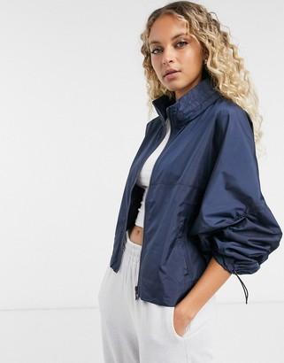 Vila funnel neck zip up jacket in navy