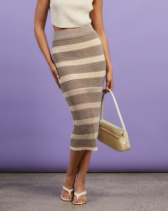 Dazie - Women's Brown Pencil skirts - Stefania Knit Maxi Skirt - Size S at The Iconic