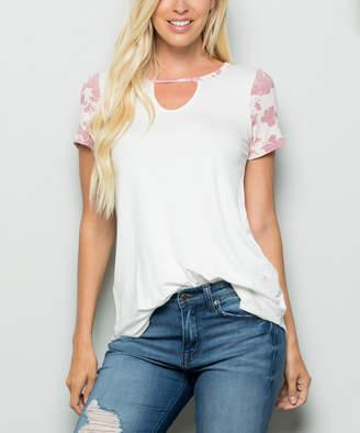 Celeste Women's Tee Shirts IVORY - Ivory Floral-Accent Choker-Cutout Tee - Women & Plus