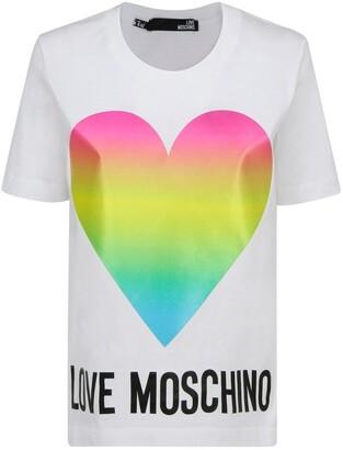 Love Moschino Rainbow Heart Jersey T-Shirt