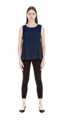 Max Studio Women's Solid Sleeveless Top with Pleats