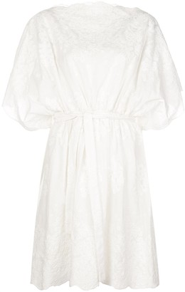 Natori Embroidered Wide-Sleeves Dress