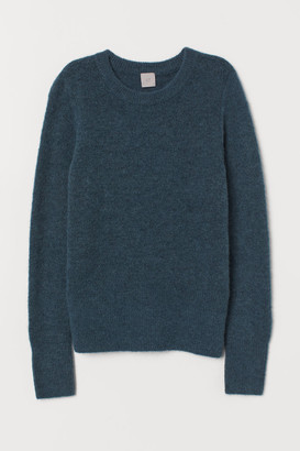 H&M Fine-knit Wool-blend Sweater - Turquoise