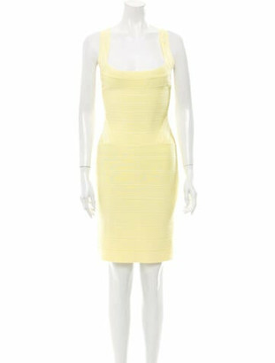 Herve Leger Square Neckline Knee-Length Dress Yellow