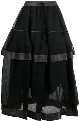Renli Su Double-Layered Midi Skirt