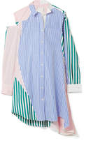 Sacai Cutout Patchwork Striped Cotton-poplin Shirt Dress - Blue