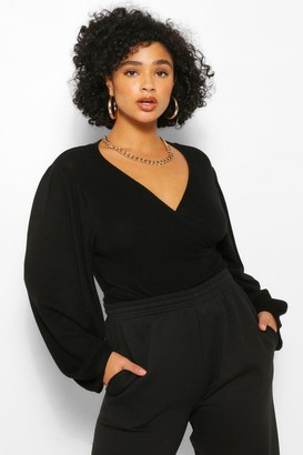 boohoo Plus Wrap Knitted V Neck Sweater