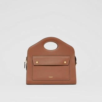 Burberry Small Topstitched Leather Pocket Tote
