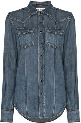 Saint Laurent Blue Classic Western Shirt