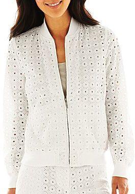 Liz Claiborne Zip-Front Eyelet Jacket