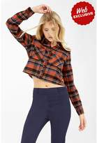 Select Fashion Fashion Womens Orange Crop Check Shirt - size 14