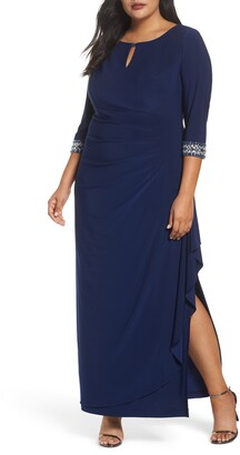 Alex Evenings Embellished Faux Wrap Gown