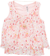 Beautees Coral Floral Tank & Heart Pendant Necklacet - Girls