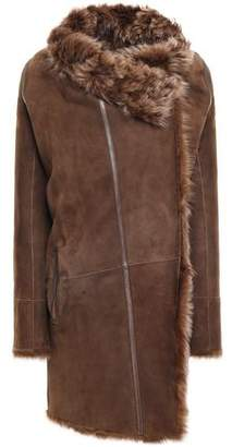 Yves Salomon Meteo By Reversible Leather-trimmed Shearling Coat