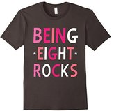 Women's Being Eight Rocks! Eighth 8 Year Old Birthday Party Pink Tee XL
