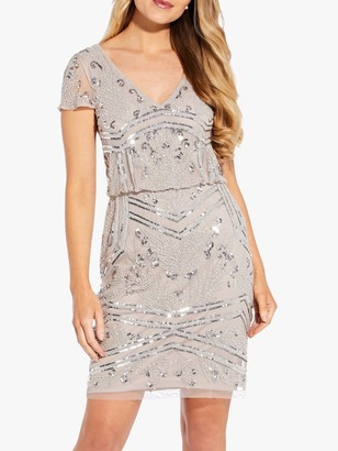 Adrianna Papell Beaded Blouson Mini Dress, Marble