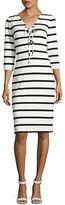 Eliza J Three-Quarter Sleeves Striped Lace-Up Dress