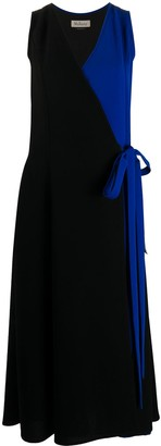Mulberry Contrast Panel Wrap Dress