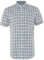 Topman Off White and Navy Check Short Sleeve Casual Shirt