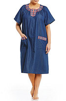Go Softly Plus Cross-Stitched Denim Zip Patio Dress