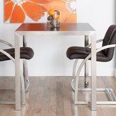 Matrix 36-inch High Square Espresso Wood Melamine Veneer Top Brushed Stainless Steel Bar/ Pub Table