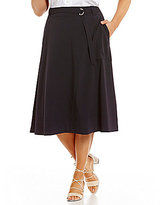 Calvin Klein Plus Lux Belted A-Line Midi Skirt