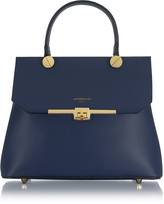 Le Parmentier Atlanta Navy Blue Leather Top Handle Satchel Bag w/Shoulder Strap
