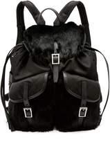 Prada Small fox-fur trimmed nylon backpack