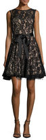 Betsy & Adam Sleeveless Lace Fit-and-Flare Dress