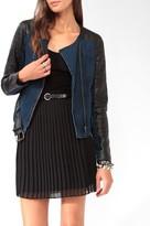 Forever 21 Denim & Faux Leather Moto Jacket