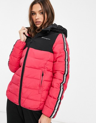 Champion padded baffle jacket in pink