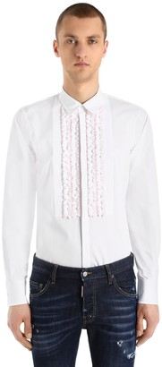 DSQUARED2 Ruffled Cotton Poplin Tuxedo Shirt